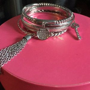 Set of 5 Silver Plated Guess Bracelets